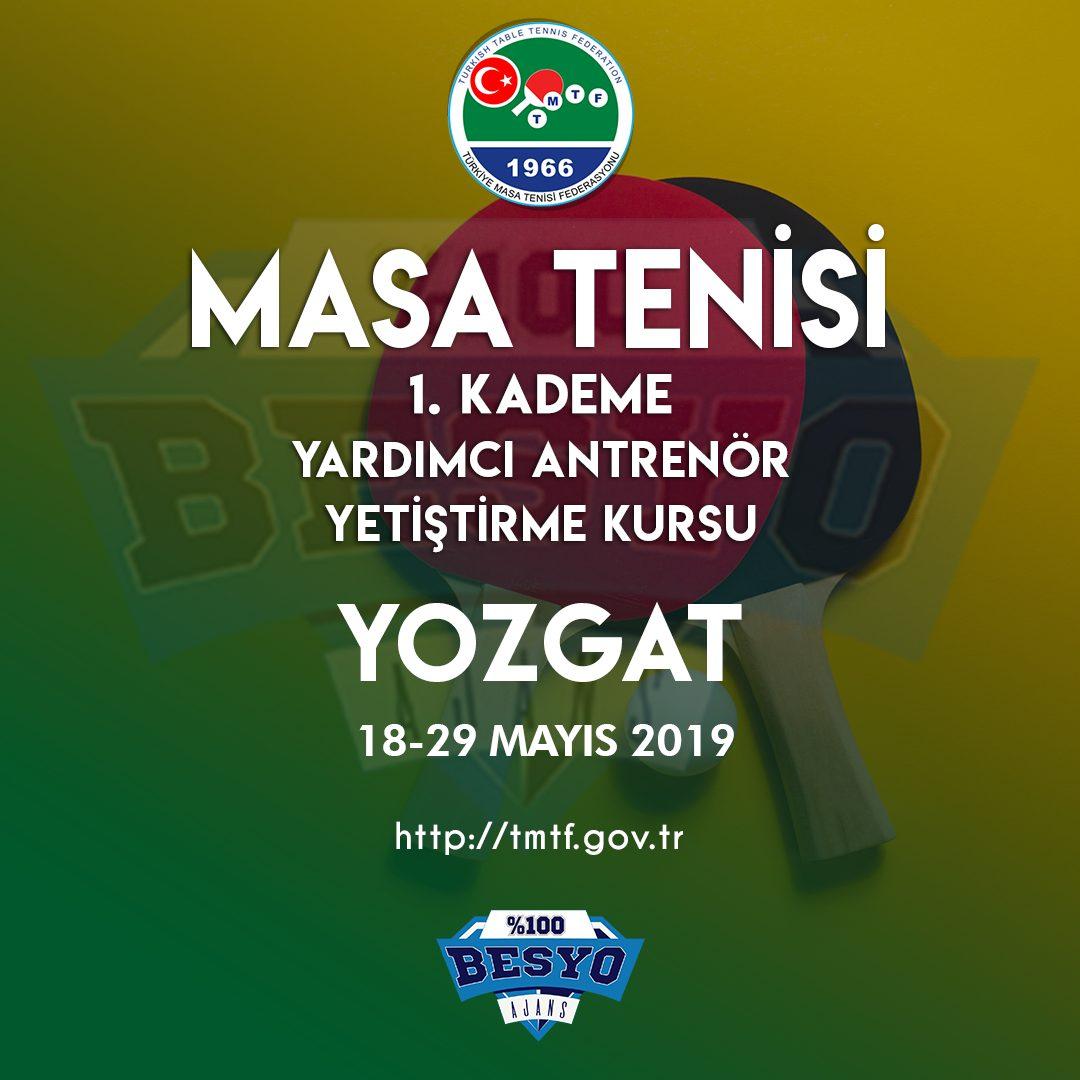 Masa Tenisi 1. Kademe Antrenörlük Kursları Yozgat