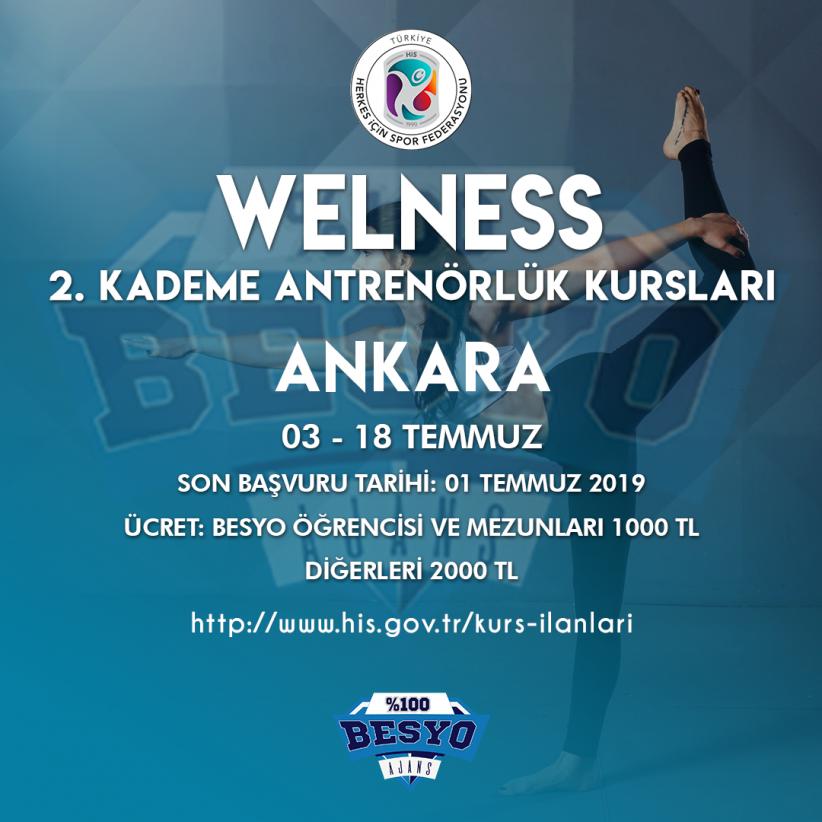 Wellness 2. Kademe Antrenörlük Kursları Temmuz 2019