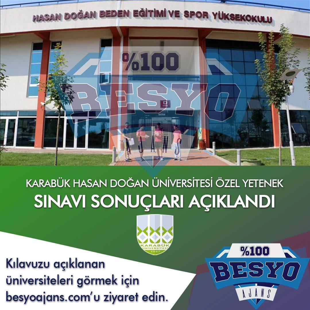Karabük Üniversitesi Besyo Özel Yetenek Sınavı Sonuçlar 2020