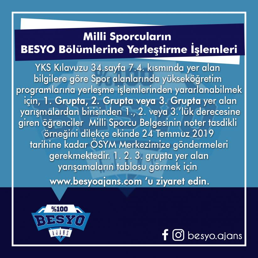 Milli Sporcuların BESYO Bölümlerine Yerleştirme İşlemleri