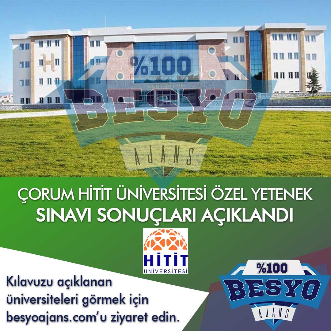 Çorum Hitit Üniversitesi BESYO Özel Yetenek Sınavı Sonuçları 2020