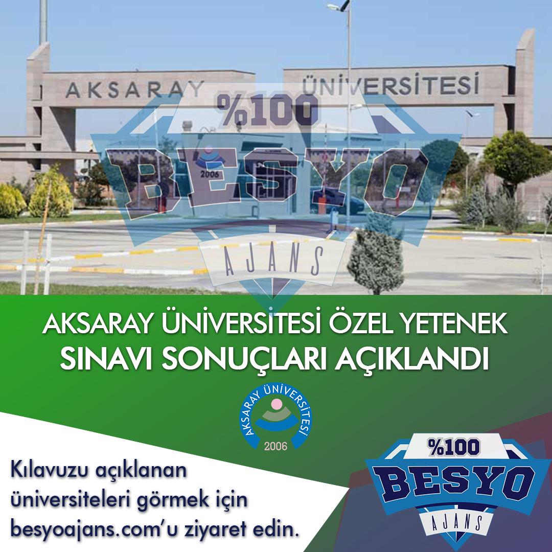 Aksaray Üniversitesi BESYO Özel Yetenek Sınavı Sonuçları 2020