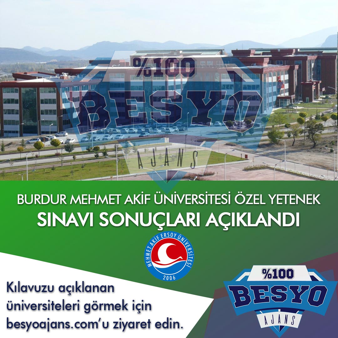 Burdur Mehmet Akif Ersoy Üniversitesi BESYO Özel Yetenek Sınavı Sonuçları 2019