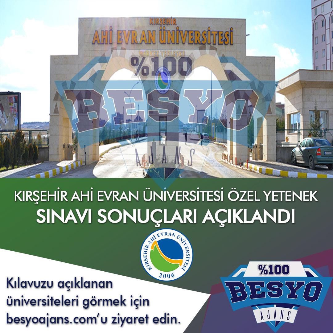 Kırşehir Ahi Evran Üniversitesi BESYO Özel Yetenek Sonuçları 2020