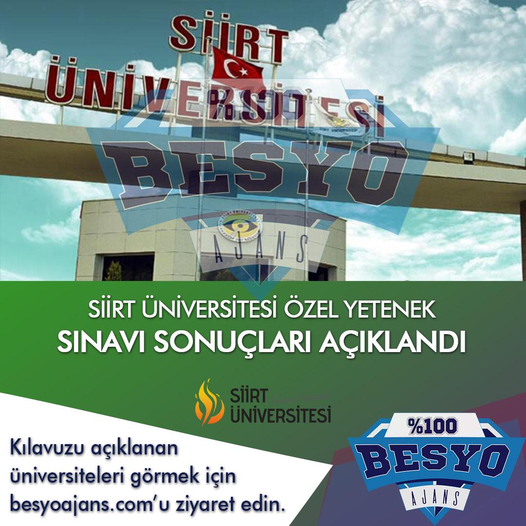 Siirt Üniversitesi BESYO Özel Yetenek Sınavı Sonuçları Açıklandı
