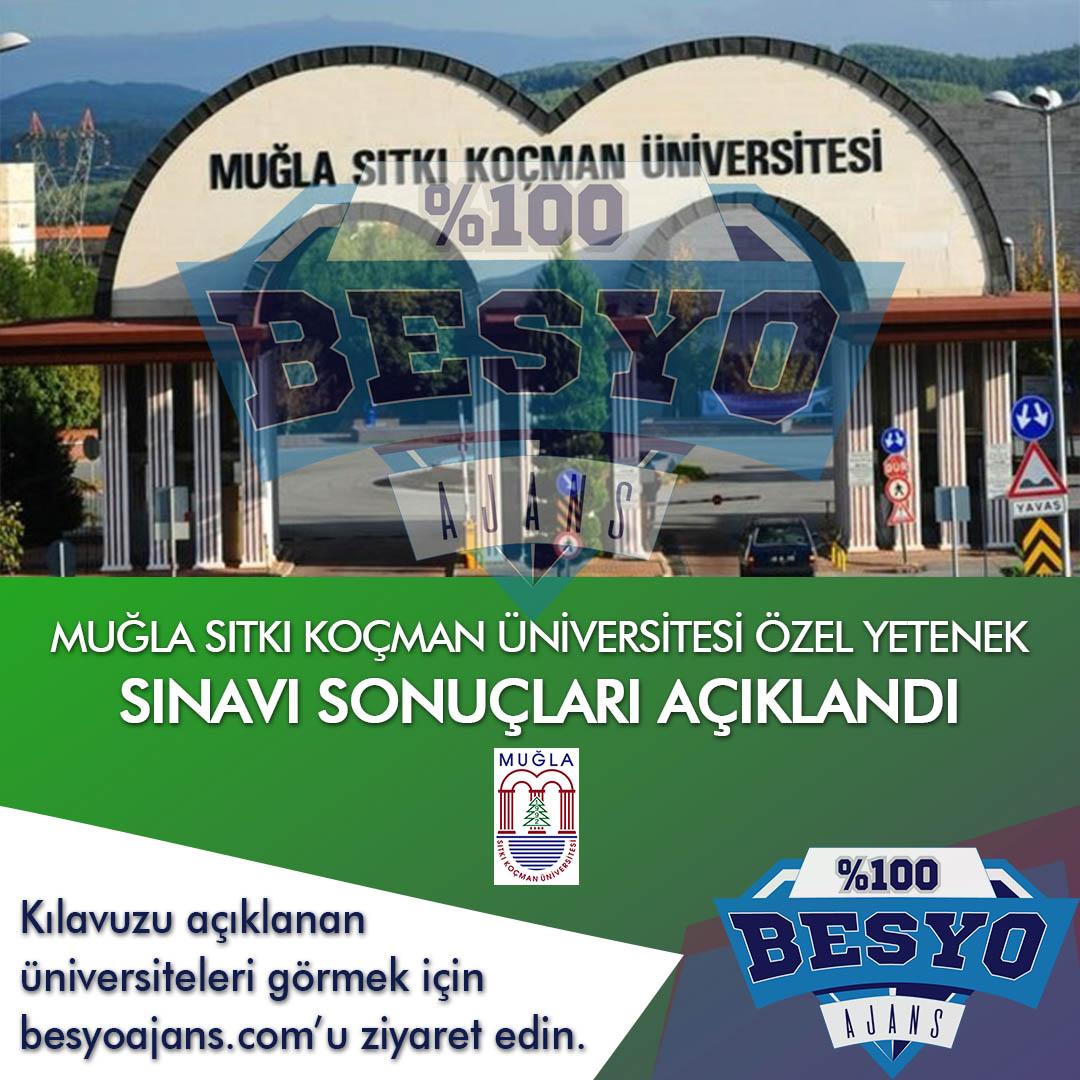 Muğla Sıtkı Koçman Üniversitesi BESYO Özel Yetenek Sınavı Sonuçları