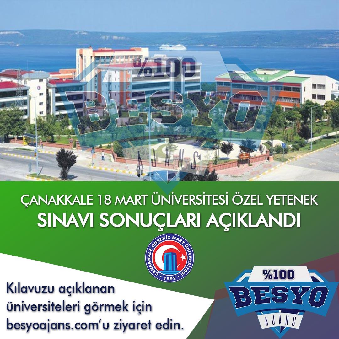Çanakkale OnSekiz Mart Üniversitesi BESYO Özel Yetenek Sınavı Sonuçları 2019