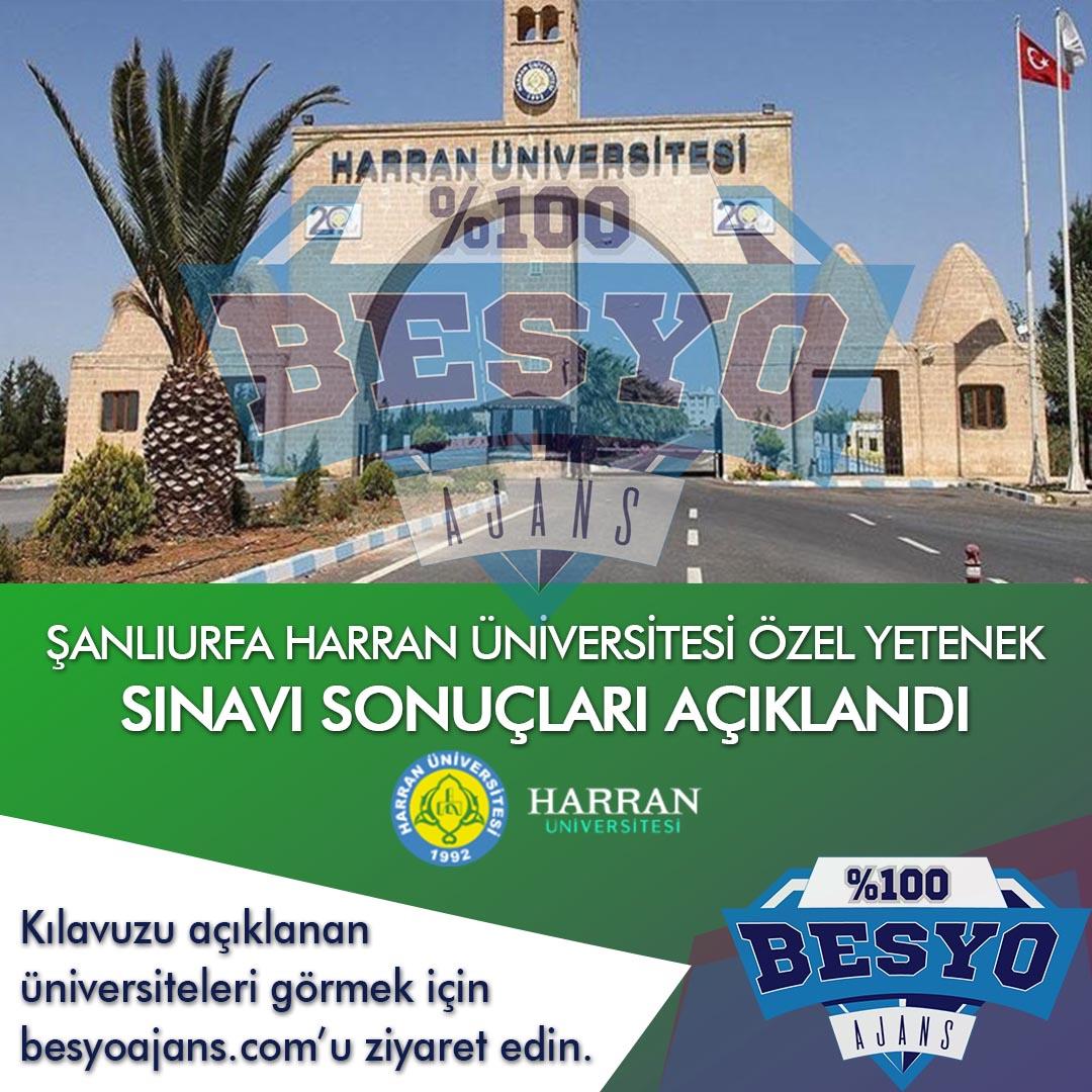 Şanlıurfa Harran Üniversitesi BESYO Özel Yetenek Sınavı Sonuçları 2019
