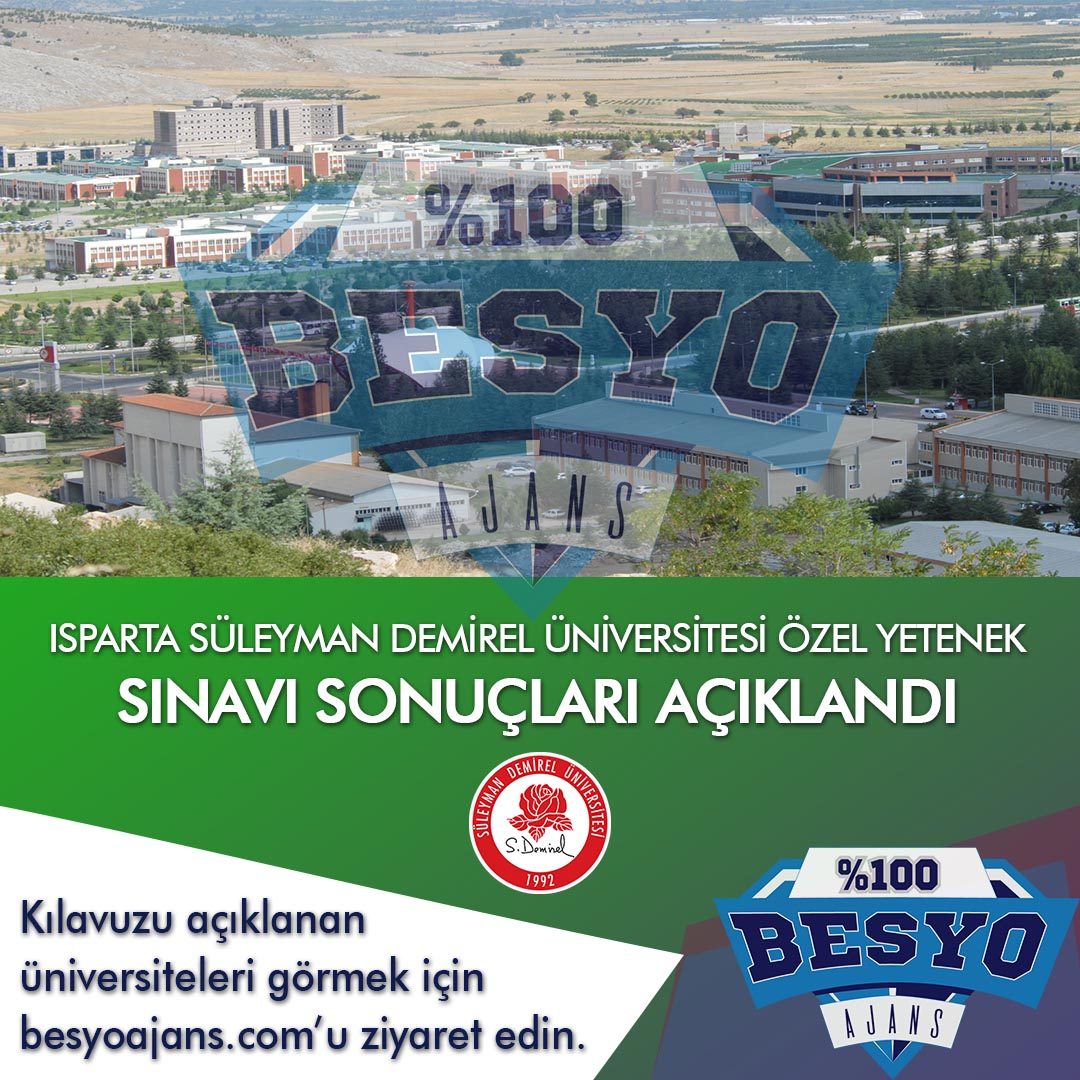 Isparta Süleyman Demirel Üniversitesi BESYO Özel Yetenek Sınavı Sonuçları 2019
