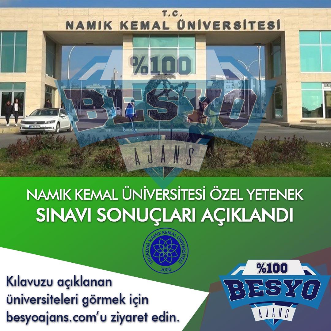 Tekirdağ Namık Kemal Üniversitesi BESYO Özel Yetenek Sınavı Sonuçları 2019
