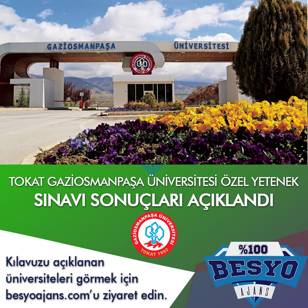 Tokat Gaziosmanpaşa Üniversitesi Besyo Özel Yetenek Sınavı Sonuçları